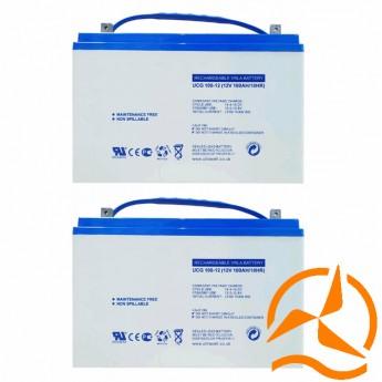 Lot de 2 batteries solaires AGM sans entretien 12 Volts 100 Ah