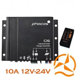 Régulateur Phocos étanche 10 Ampères 12-24 Volts fonction crépusculaire CIS10 et sa télécommande