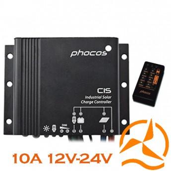 Régulateur Phocos étanche 10 Ampères 12-24 Volts fonction crépusculaire et sa télécommande