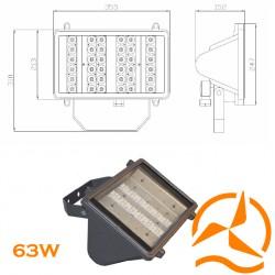 Projecteur extérieur gamme professionnelle - 36LED-63W-110-230V-3680lumens