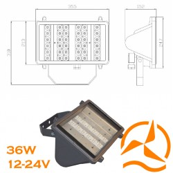 Projecteur extérieur gamme professionnelle - 36LED-36W-12/24V-2700lumens