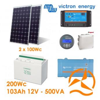 Kit solaire photovoltaïque autonome 200Wc OPzV 103Ah 500VA 220-240Vac