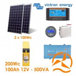 Kit solaire photovoltaïque autonome 200Wc Terminal Front 190Ah 500VA 220-240Vac