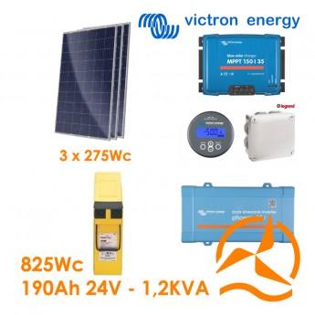 Kit solaire photovoltaïque autonome 825Wc front terminal 190Ah 24V 1200VA 220-240Vac
