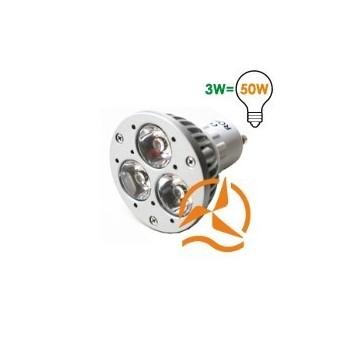 Ampoule spot 3 LEDs 220 Volts culot GU10 éclairage blanc chaud puissant génération 2010