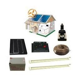Kit solaire complet éclairage 2 rampes LEDs 12 Volts 10 Watts
