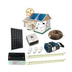 Kit solaire complet maxi éclairage LEDs 12 Volts 130 Watts