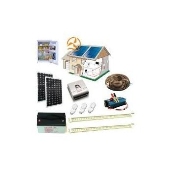 Kit solaire complet maxi éclairage LEDs 12 Volts 200 Watts + réfrigérateur