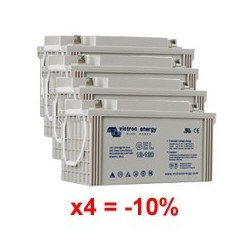 Lot de 4 batteries au Gel à décharge profonde 12 Volts 110 Ah Victron Energy