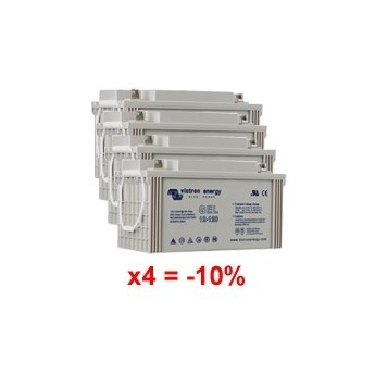 Lot de 4 batteries au Gel à décharge profonde 12V 110Ah Victron Energy