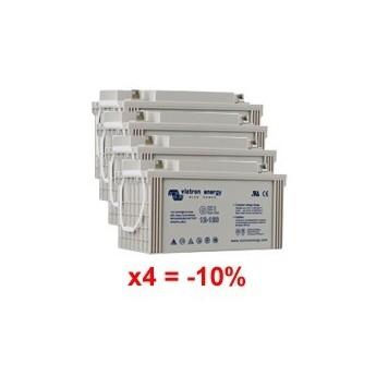 Lot de 4 batteries au Gel à décharge profonde 12V 110Ah Victron Energy