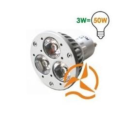 Lot de 5 ampoules spots 3 LEDs 220 Volts culot GU10 éclairage blanc chaud puissant