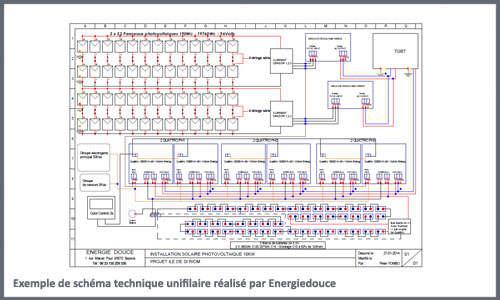 Exemple de schéma unifilaire réalisé par Energiedouce