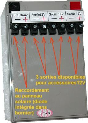 Photo connexions du panneau solaire à la batterie 12 volts 12 amperes