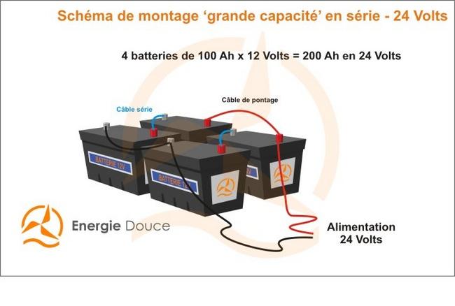 Energiedouce schéma de montage en série et en parallèle batteries en 24 Volts haute capacité