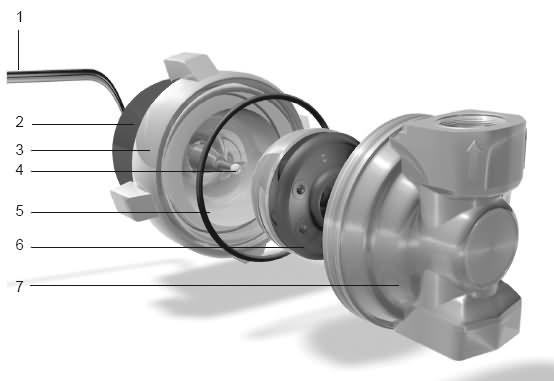 Energiedouce vue éclatée de la pompe ou circulateur 8 à 24 Volts pour chauffage solaire