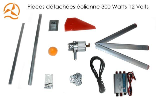 Détails des pièces détachées de l'éolienne 12 Volts 300 Watts nouvelle génération sur Energiedouce.com
