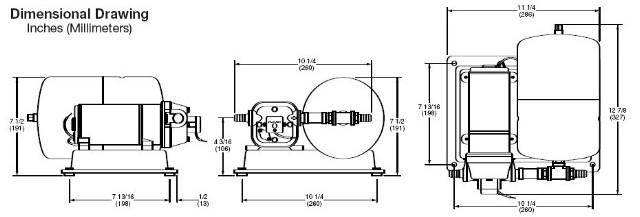 Schéma d'encombrement du groupe pompe surpresseur Flojet 12 Volts