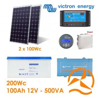 Kit solaire photovoltaïque autonome 200Wc Gel 100Ah 500VA 220-240Vac