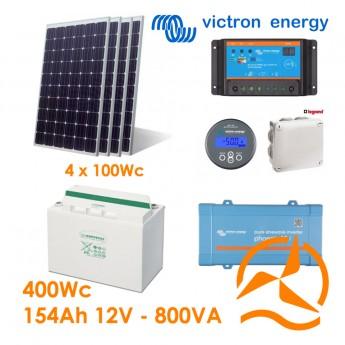 Kit solaire photovoltaïque autonome 400Wc OPzV 154Ah 800VA 220-240Vac