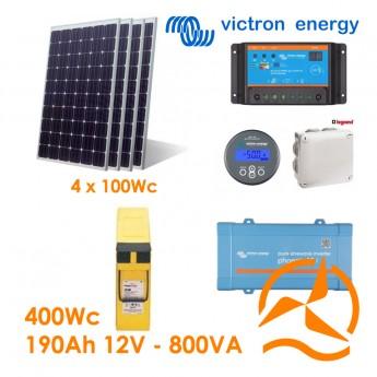 Kit solaire photovoltaïque autonome 400Wc Front Terminal 190Ah 800VA 220-240Vac