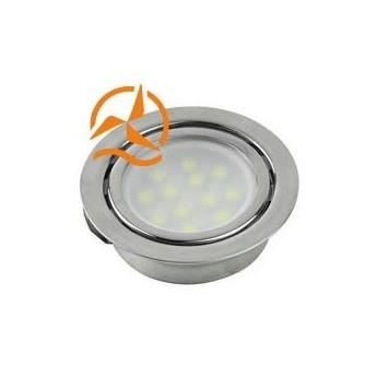 Spot inox encastrable 21 LEDs SMD 3528 12 Volts éclairage blanc chaud