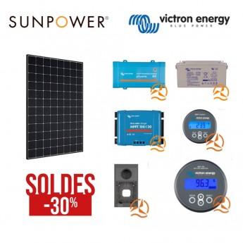 Kit solaire Sunpower et Victron Energy complet spécial cabanon chalet maisonnette caravane