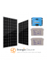 Kit Solaire Autoconsommation avec Stockage - PV 650Wc - 2,4kWh Batterie 24V - Convertisseur pur sinus 1200VA Monophasé