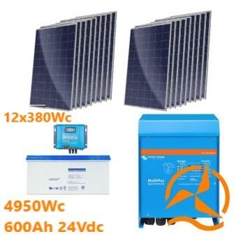 Kit solaire autoconsommation d'une puissance de 4950Wc avec batteries GEL  600Ah 24Vdc
